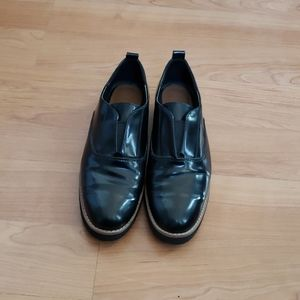 Zara Blucher Platform Black Patent Shoes
